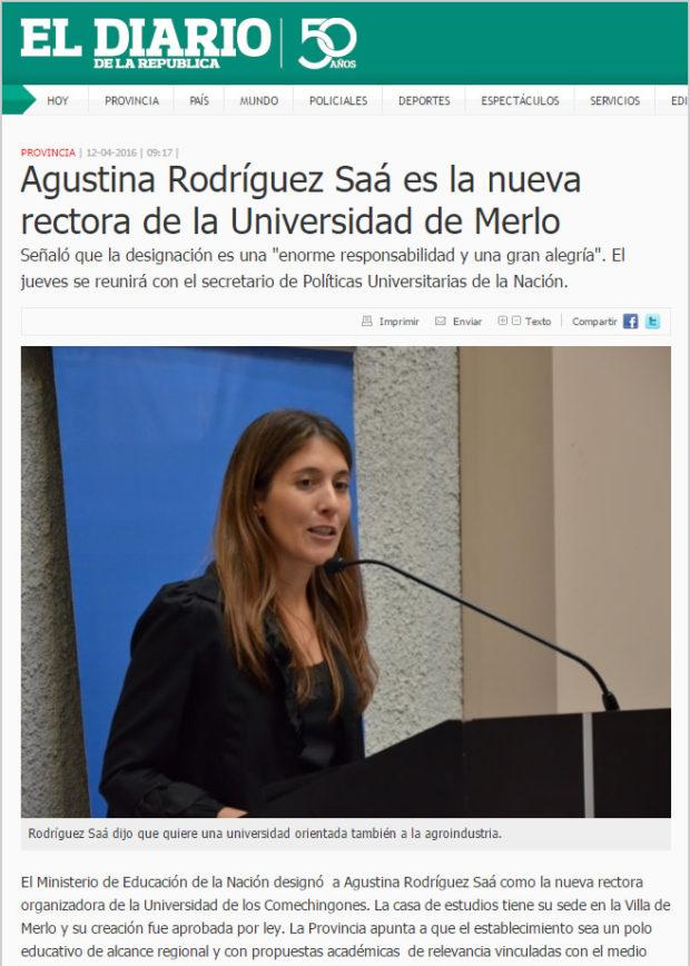 Agustina Rodríguez Saá, mediante un acuerdo político con Macri, es la rectora de la Universidad de los Comechingones. ¿Discriminación?