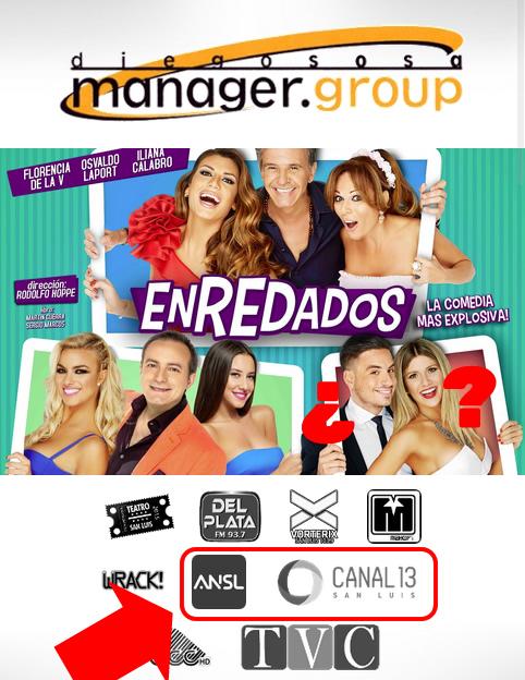 Los logos de Canal 13 y ANSL en el pie de pagina de la web de Diego Sosa Manager Group