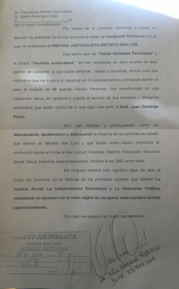 La nota de renuncia de Tula Barale.