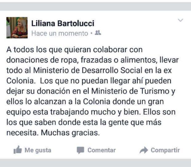 La colaboradora directa de Rodríguez Saá, Liliana Bartolucci, pide donación a través de Facebook.