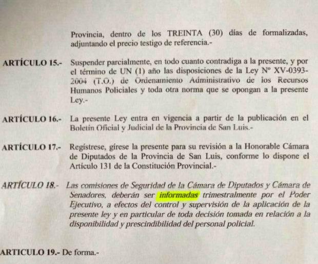 Ley la Emergencia en Seguridad - San Luis
