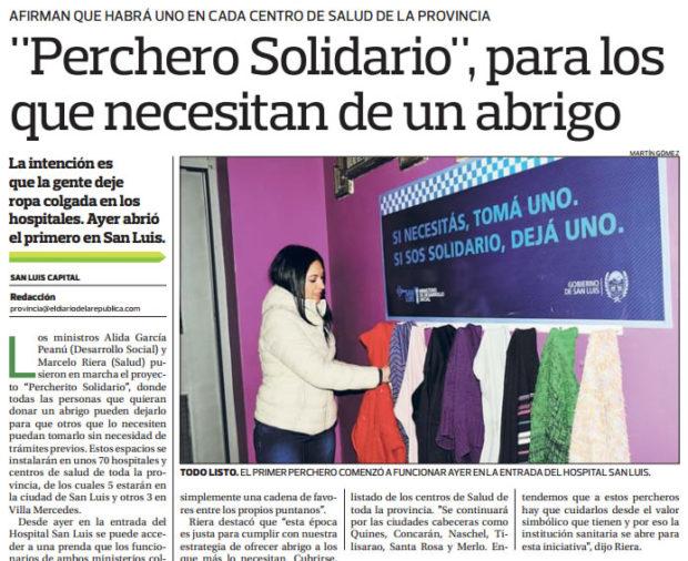"""Nota sobre el """"Perchero Solidario"""" - El Diario de la República"""