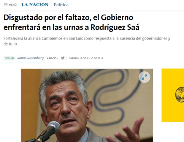 Lea la nota de La Nación en http://www.lanacion.com.ar/1919091-disgustado-por-el-faltazo-el-gobierno-enfrentara-en-las-urnas-a-rodriguez-saa