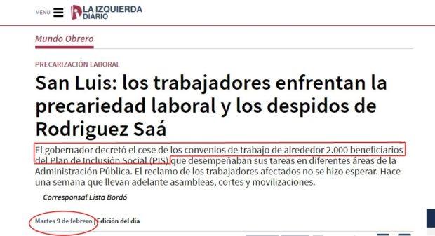 El sitio Web La Izquierda Diario difundía en febrero de este año los miles de despidos ordenados por Rodríguez Saá en el Plan de Inclusión Social.