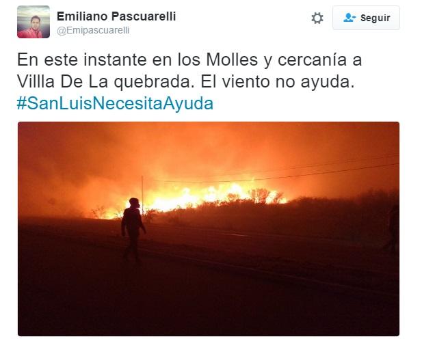 En este twit Pascuarelli menciona Los Molles con la foto del lugar. Esto no fue publicado por El Diario.