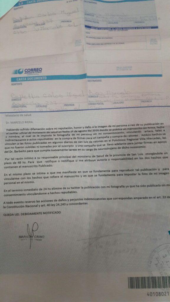 La carta documento de Bellettini a Riera.