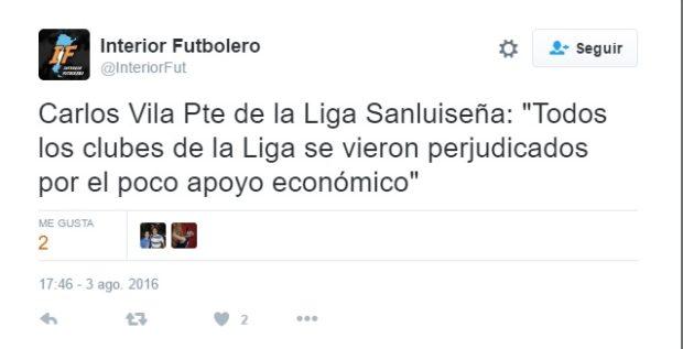 Interior Futbolero difundió a través de Twitter las declaraciones de Vila.
