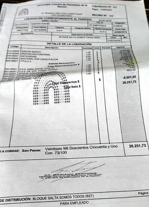 El recibo de sueldo que confirma la suma que cobra la hija de Videla.