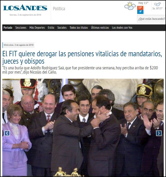 """Diario Los Andes: """"""""Es una burla que Adolfo Rodríguez Saá, que fue presidente una semana, hoy perciba arriba de $200 mil por mes"""", dijo Nicolás del Caño."""""""