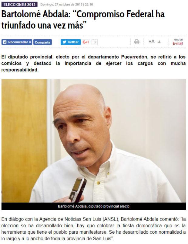 Archivo: Bartolomé Abdala en las Elecciones 2013