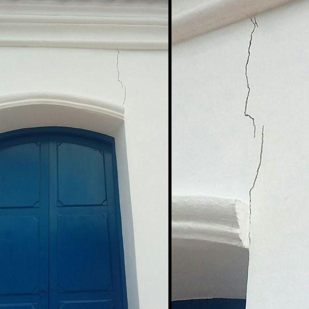 La ventada izquierda y las evidentes falencias de la construcción.