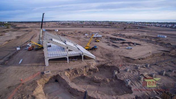 Avance de obra del mes de Agosto del nuevo Estadio Unico de la ciudad de Villa Mercedes (Parque La Pedrera)