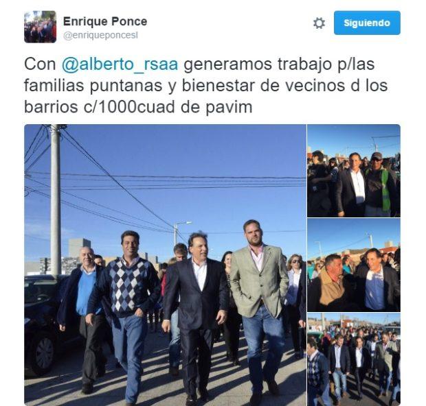 La publicación de Ponce, en Twitter, en la que pondera su alianza con Rodríguez Saá.