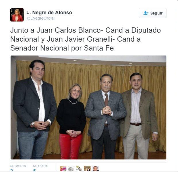 Adolfo Rodríguez Saá y Liliana Negre de Alonso junto al candidato narco Javier Granelli.