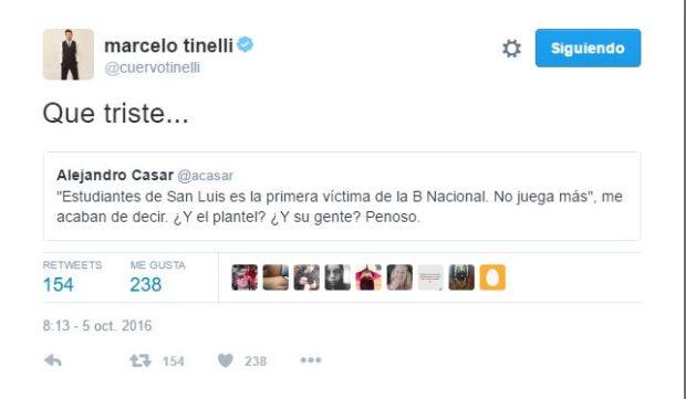 Tinelli se expresó sobre el difícil momento de Estudiantes.