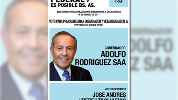 Adolfo Rodríguez Saá, candidato a Gobernador por la provincia de Buenos Aires.