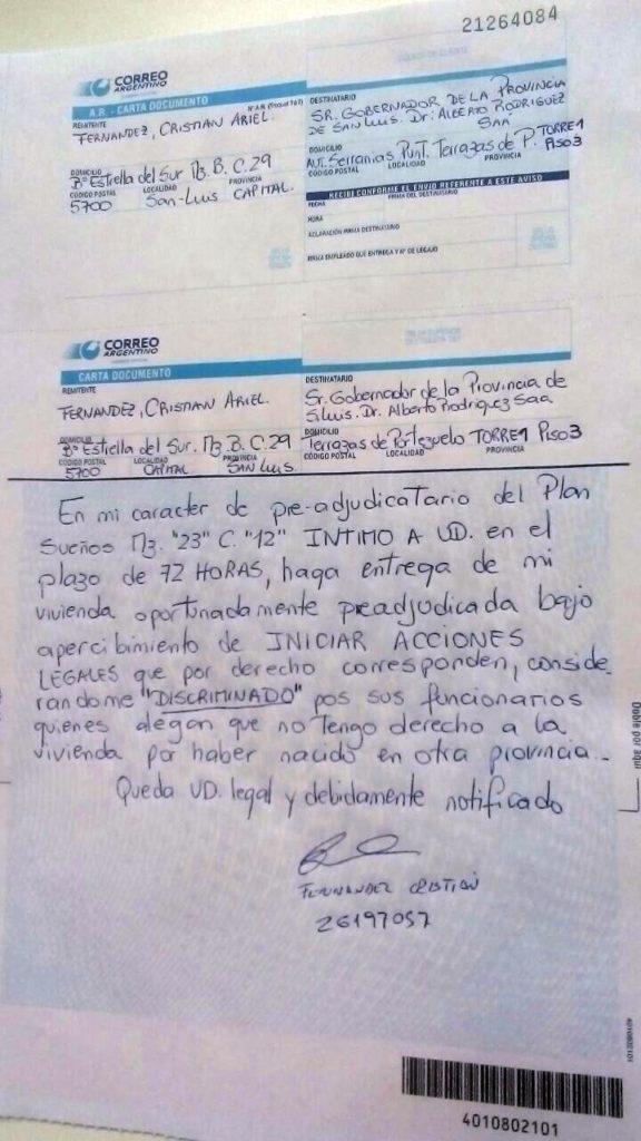 En Terrazas del Portezuelo comenzaron a recibir las Cartas Documento enviadas al Gobernador.