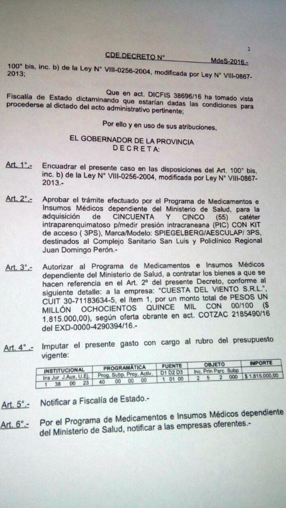 El decreto por el que se autoriza la compra a Cuesta del Viento SRL.