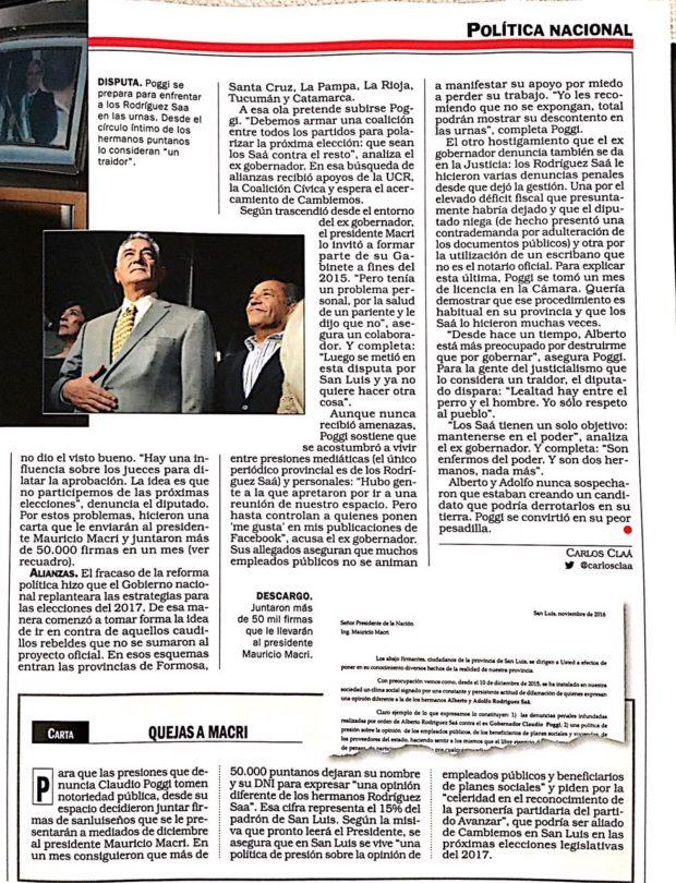 Dos páginas dedicó la revista para contar la realidad política de San Luis.