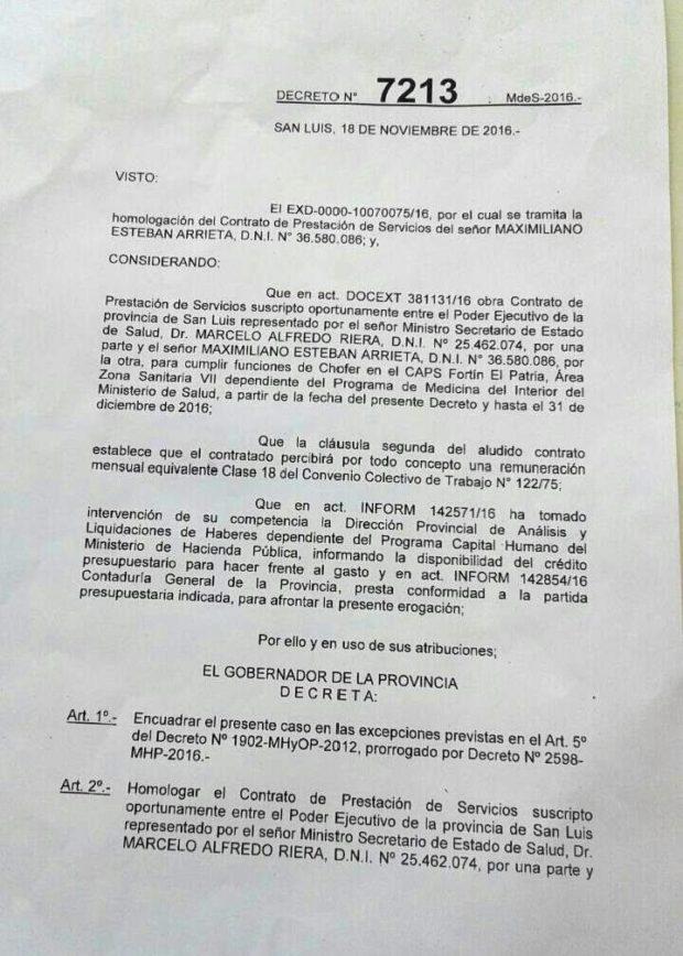 El decreto que nombra al sobrino de Arrieta.